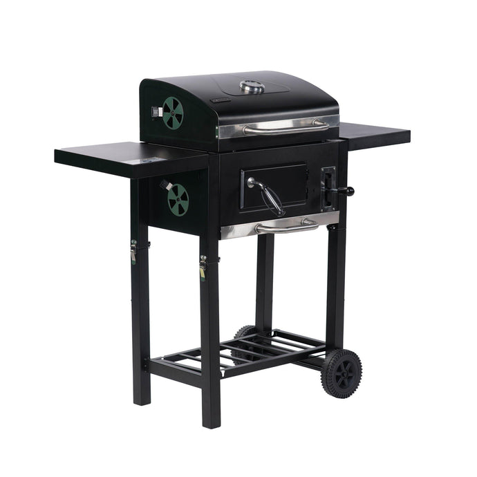 ALEKO Outdoor ALEKO Products Foldable Wagon Charcoal BBQ Grill with Side Tables and Wheels - Black BBQG02FW-AP BBQG02FW-AP
