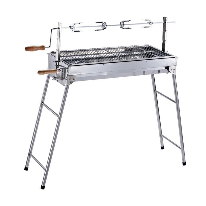 ALEKO Outdoor ALEKO Products Lightweight Portable Foldable Stainless Steel Charcoal Barbecue Grill with Roasting Bar GBBQ880-AP GBBQ880-AP