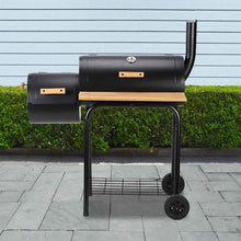 Load image into Gallery viewer, ALEKO Outdoor ALEKO Products Portable Charcoal BBQ Offset Smoker Grill with Side Fire Box and Wooden Accents BBQSG04-AP BBQSG04-AP