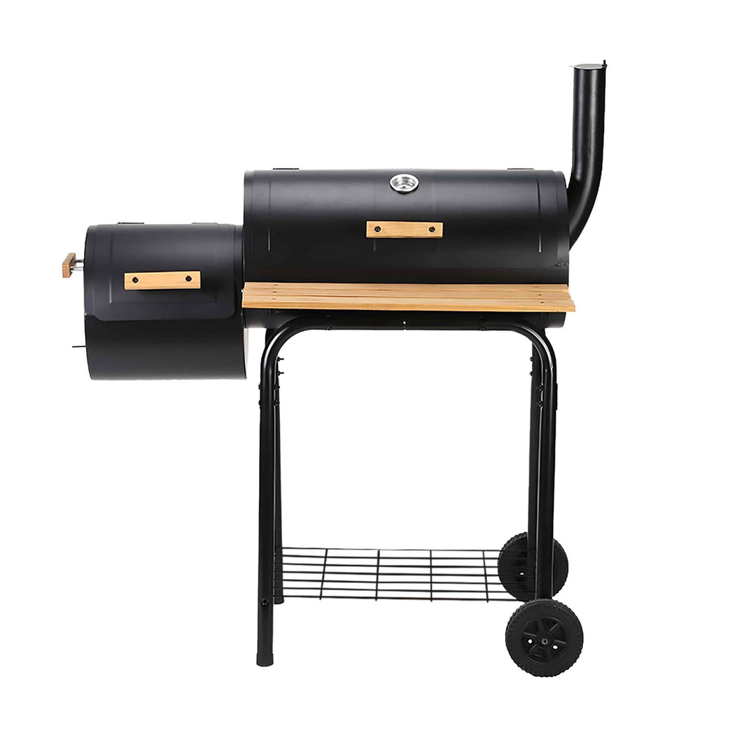 ALEKO Outdoor ALEKO Products Portable Charcoal BBQ Offset Smoker Grill with Side Fire Box and Wooden Accents BBQSG04-AP BBQSG04-AP