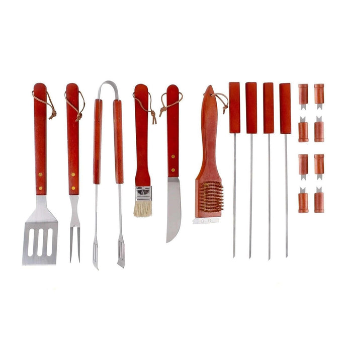 ALEKO Outdoor ALEKO Products Stainless Steel BBQ Grilling Accessories Tool Set with Storage Case - 18 Pieces - Red BBQTS-AP