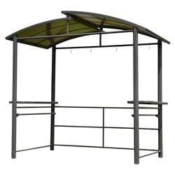 ALEKO Outdoor ALEKO Products Steel Hardtop BBQ Gazebo with Serving Tables - 8 x 5 x 8 Feet - Brown GZBHTG01-AP GZBHTG01-AP