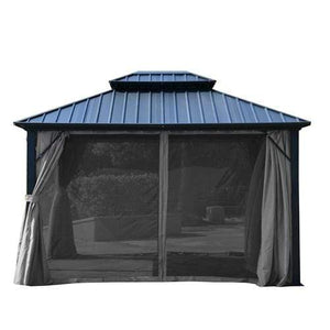 ALEKO Outdoor ALEKO Products UV Protectant Polyester Curtain Panels for Hardtop Gazebo - 12 x 10 Feet - Gray GAZM10X12C-AP GAZM10X12C-AP
