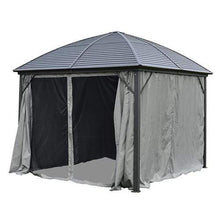 Load image into Gallery viewer, ALEKO Outdoor ALEKO Products UV-Protective Polyester Curtain Panels for Hardtop Round Roof Gazebo - 10 x 10 Feet - Gray GZM10X10C-AP GZM10X10C-AP