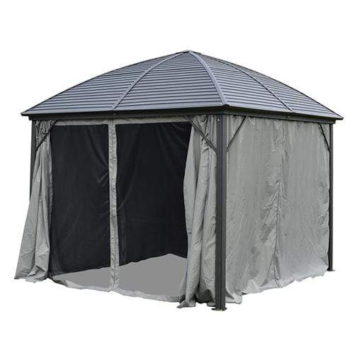ALEKO Outdoor ALEKO Products UV-Protective Polyester Curtain Panels for Hardtop Round Roof Gazebo - 10 x 10 Feet - Gray GZM10X10C-AP GZM10X10C-AP