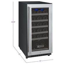 "Load image into Gallery viewer, Allavino Wine Refrigerators Allavino Products 15"" Single Zone Wine Cooler Refrigerator - 30 Bottle Capacity - Hinge on Right VSWR30-1SSRN VSWR30-1SSRN"