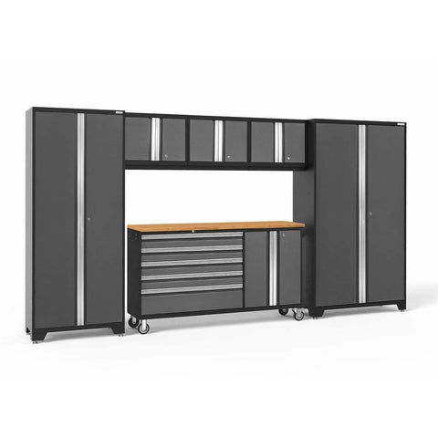 Image of Garage Reserve Gray / Bamboo NewAge Products BOLD SERIES 3.0 6 Piece Cabinet Set 50502