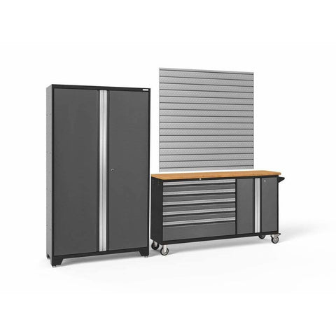 Image of Garage Reserve Gray Doors with Bamboo Top / Pro. 16 Sq. Ft. Steel Slatwall NewAge Products BOLD SERIES 3.0 2 Piece Cabinet Set 50687 50687