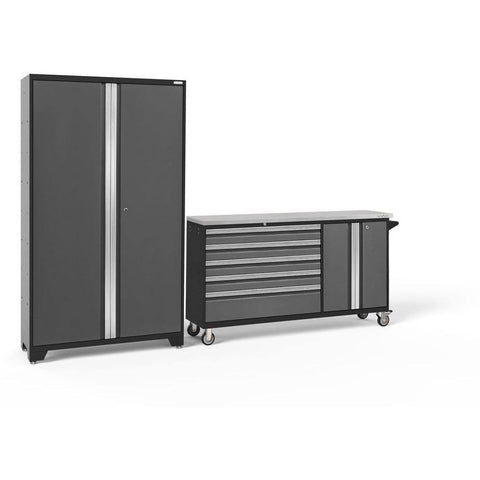 Image of Garage Reserve Gray Doors with Stainless Top / None NewAge Products BOLD SERIES 3.0 2 Piece Cabinet Set 50687