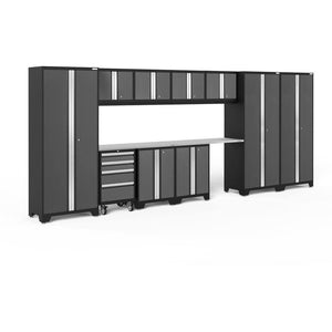 Garage Reserve Gray / Stainless Steel NewAge Products BOLD SERIES 3.0 12 Piece Cabinet Set 50414