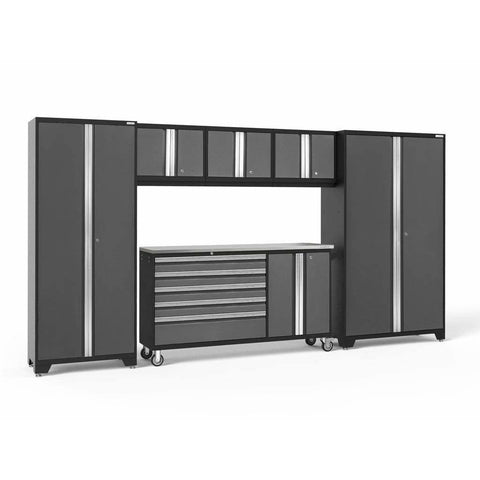 Image of Garage Reserve Gray / Stainless Steel NewAge Products BOLD SERIES 3.0 6 Piece Cabinet Set 50502