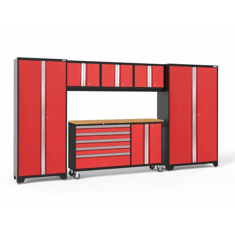 Image of Garage Reserve Red / Bamboo NewAge Products BOLD SERIES 3.0 6 Piece Cabinet Set 50502