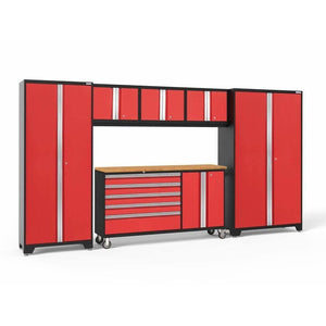 Garage Reserve Red / Bamboo NewAge Products BOLD SERIES 3.0 6 Piece Cabinet Set 50502