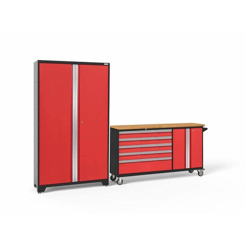 Image of Garage Reserve Red Doors with Bamboo Top / None NewAge Products BOLD SERIES 3.0 2 Piece Cabinet Set 50687