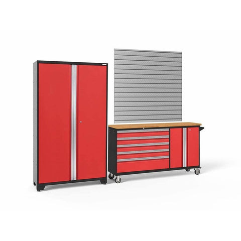 Image of Garage Reserve Red Doors with Bamboo Top / Pro. 16 Sq. Ft. Steel Slatwall NewAge Products BOLD SERIES 3.0 2 Piece Cabinet Set 50687