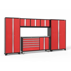 Garage Reserve Red / Stainless Steel NewAge Products BOLD SERIES 3.0 6 Piece Cabinet Set 50502