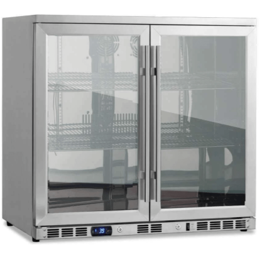 Kings Bottle Beverage Coolers KINGS BOTTLE 36 Inch Heating Glass 2 Door Built In Beverage Fridge KBU56M