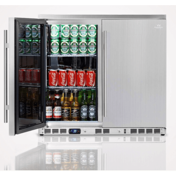 Kings Bottle Beverage Coolers KINGS BOTTLE 36 Inch Outdoor Beverage Refrigerator 2 Door For Home KBU56ASD