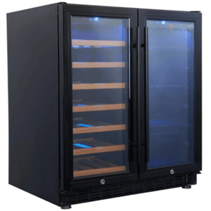 "Kings Bottle Wine and Beverage Cooler combos Glass Door With Black Frame / 2-Year Warranty (Free) KINGS BOTTLE 30"" Under Counter Wine and Beer Cooler Combo 