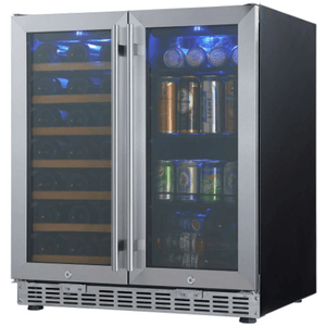 "Kings Bottle Wine and Beverage Cooler combos Glass Door With Stainless Steel Trim / 2-Year Warranty (Free) KINGS BOTTLE 30"" Under Counter Wine and Beer Cooler Combo 