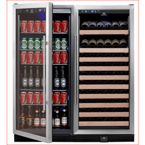 Kings Bottle Wine and Beverage Cooler Combos Glass Door With Stainless Steel Trim / 2-Year Warranty (Free) KINGS BOTTLE 56