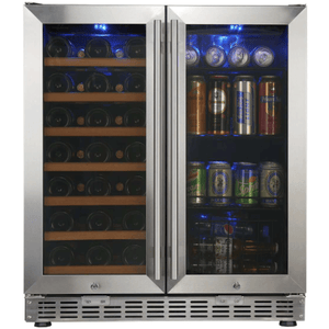 "Kings Bottle Wine and Beverage Cooler combos KINGS BOTTLE 30"" Under Counter Wine and Beer Cooler Combo 