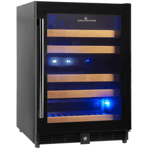 Kings Bottle Wine Coolers Borderless Black Glass Door / Right Hand Ringe KINGS BOTTLE Products 46 Bottles 24 Inch Under Counter Dual Zone Wine Cooler Drinks KBU50DX-SS RHH KBU50DX-FG RHH
