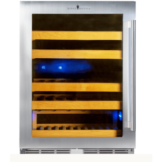 Kings Bottle Wine Coolers Glass Door with Stainless Steel Trim / Left Hand Ringe KINGS BOTTLE Products 46 Bottles 24 Inch Under Counter Dual Zone Wine Cooler Drinks KBU50DX-SS RHH KBU50DX-SS LHH