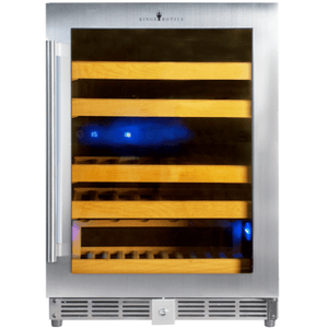 Kings Bottle Wine Coolers Glass Door with Stainless Steel Trim / Right Hand Hinge KINGS BOTTLE Products 46 Bottles 24 Inch Under Counter Dual Zone Wine Cooler Drinks KBU50DX-SS RHH KBU50DX-SS RHH