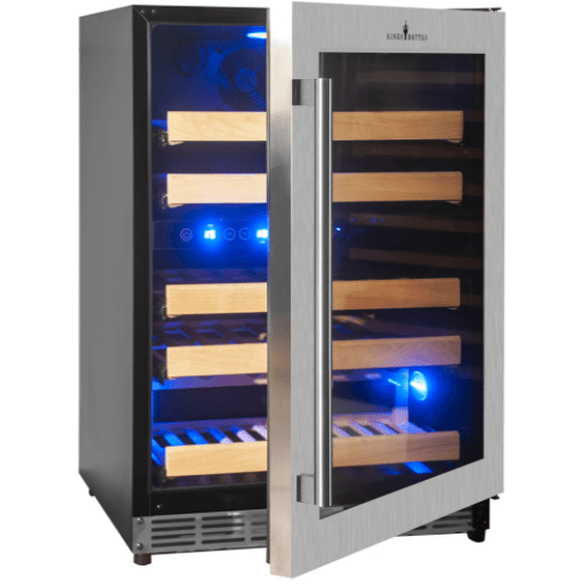 Kings Bottle Wine Coolers KINGS BOTTLE Products 46 Bottles 24 Inch Under Counter Dual Zone Wine Cooler Drinks KBU50DX-SS RHH