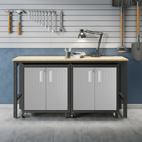Manhattan Comfort Garage Cabinets Fortress Manhattan Comfort 3-Piece Fortress Mobile Space-Saving Steel Garage Cabinet and Worktable 1.0 in Grey 14GMC 14GMC