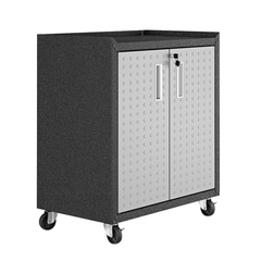 Manhattan Comfort 3-Piece Fortress Mobile Space-Saving Steel Garage Cabinet and Worktable 1.0 in Grey 14GMC