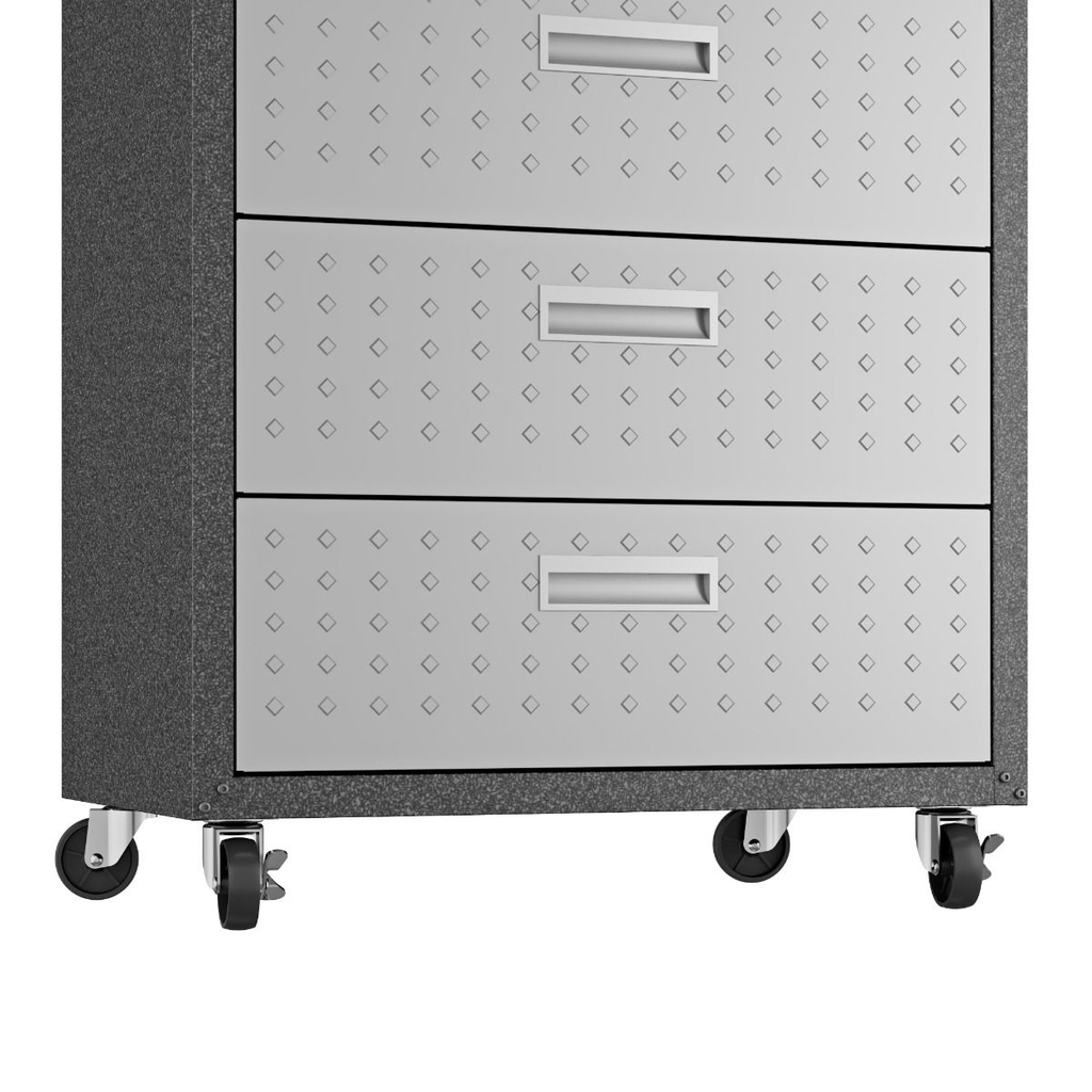 Manhattan Comfort Garage Cabinets Fortress Manhattan Comfort 3-Piece Fortress Mobile Space-Saving Steel Garage Cabinet and Worktable 3.0 in Grey 16GMC 16GMC
