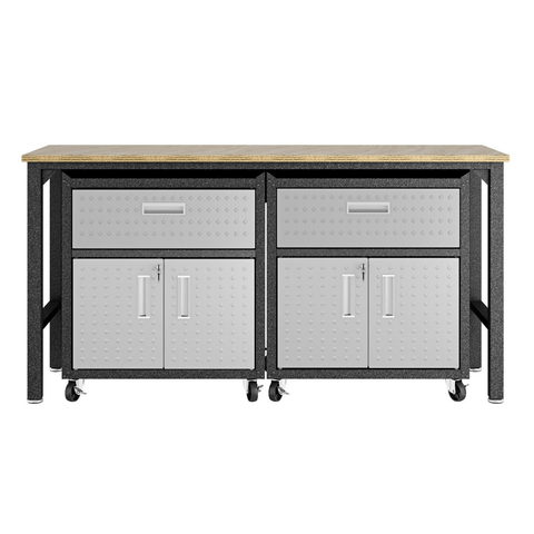 Manhattan Comfort Garage Cabinets Fortress Manhattan Comfort 3-Piece Fortress Mobile Space-Saving Steel Garage Cabinet and Worktable 4.0 in Grey 17GMC 17GMC