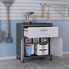 Image of Manhattan Comfort Garage Cabinets Fortress Manhattan Comfort 3-Piece Fortress Mobile Space-Saving Steel Garage Cabinet and Worktable 4.0 in Grey 17GMC 17GMC