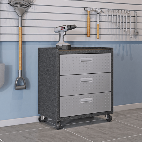 Manhattan Comfort Garage Cabinets Fortress Manhattan Comfort 3-Piece Fortress Mobile Space-Saving Steel Garage Cabinet and Worktable 5.0 in Grey 18GMC 18GMC