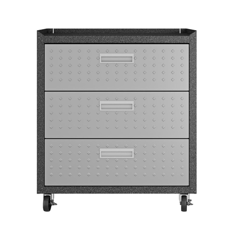 Manhattan Comfort Garage Cabinets Fortress Manhattan Comfort 3-Piece Fortress Mobile Space-Saving Steel Garage Cabinet and Worktable 6.0 in Grey 19GMC 19GMC