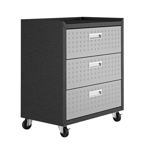 Image of Manhattan Comfort Garage Cabinets Fortress Manhattan Comfort 3-Piece Fortress Mobile Space-Saving Steel Garage Cabinet and Worktable 6.0 in Grey 19GMC 19GMC