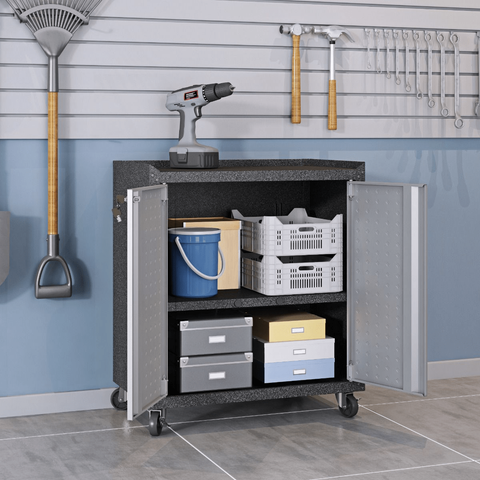 Manhattan Comfort Garage Cabinets Fortress Manhattan Comfort 3-Piece Fortress Mobile Space-Saving Steel Garage Cabinet Set and Worktable 2.0 in Grey 15GMC 15GMC