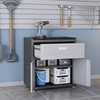 Image of Manhattan Comfort Garage Cabinets Fortress Manhattan Comfort 6-Piece Fortress Textured Garage Set with Cabinets, Wall Units and Table in Grey 6-GGGG 6-GGGG