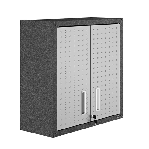 "Manhattan Comfort Garage Cabinets Fortress Manhattan Comfort Fortress 30"" Floating Textured Metal Garage Cabinet with Adjustable Shelves in Grey 5GMC 5GMC"