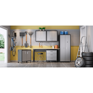 "Manhattan Comfort Garage Cabinets Fortress Manhattan Comfort Fortress 30"" Floating Textured Metal Garage Cabinet with Adjustable Shelves in Grey (Set of 2) 2-5GMC 2-5GMC"