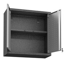 "Load image into Gallery viewer, Manhattan Comfort Garage Cabinets Fortress Manhattan Comfort Fortress 30"" Floating Textured Metal Garage Cabinet with Adjustable Shelves in Grey (Set of 2) 2-5GMC 2-5GMC"
