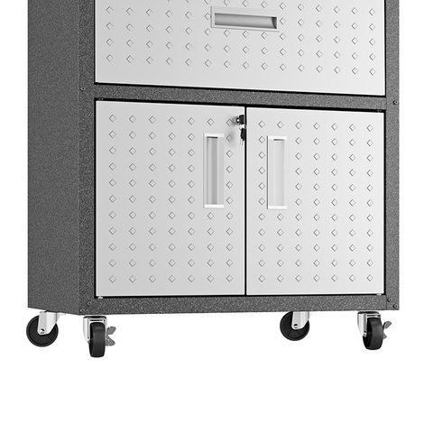 "Manhattan Comfort Garage Cabinets Fortress Manhattan Comfort Fortress Textured Metal 31.5"" Garage Mobile Cabinet with 1 Full Extension Drawer and 2 Adjustable Shelves in Grey 2GMCC 2GMCC"