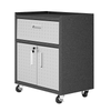"Image of Manhattan Comfort Garage Cabinets Fortress Manhattan Comfort Fortress Textured Metal 31.5"" Garage Mobile Cabinet with 1 Full Extension Drawer and 2 Adjustable Shelves in Grey 2GMCC 2GMCC"