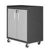 "Image of Manhattan Comfort Garage Cabinets Fortress Manhattan Comfort Fortress Textured Metal 31.5"" Garage Mobile Cabinet with 2 Adjustable Shelves in Grey 3GMCC 3GMCC"