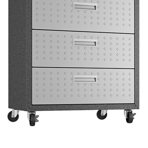 "Manhattan Comfort Garage Cabinets Fortress Manhattan Comfort Fortress Textured Metal 31.5"" Garage Mobile Chest with 3 Full Extension Drawers in Grey 4GMCC 4GMCC"