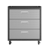 "Image of Manhattan Comfort Garage Cabinets Fortress Manhattan Comfort Fortress Textured Metal 31.5"" Garage Mobile Chest with 3 Full Extension Drawers in Grey 4GMCC 4GMCC"