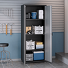 "Image of Manhattan Comfort Garage Cabinets Fortress Manhattan Comfort Fortress Textured Metal 75.4"" Garage Cabinet with 4 Adjustable Shelves in Grey 1GMCF 1GMCF"