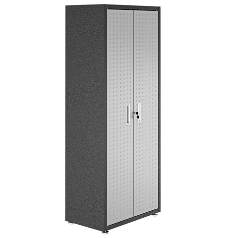 "Manhattan Comfort Garage Cabinets Fortress Manhattan Comfort Fortress Textured Metal 75.4"" Garage Cabinet with 4 Adjustable Shelves in Grey 1GMCF 1GMCF"